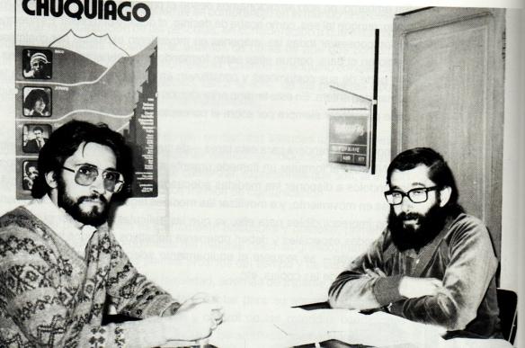 Carlos D. de Mesa Gisbert y Pedro Susz Kohl, directores ejecutivo de la Cinemateca en una fotografía de 1979