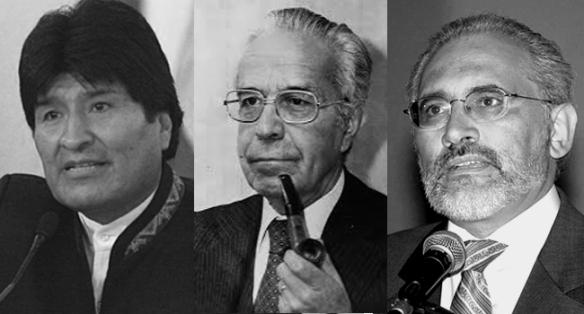 Evo Morales, Víctor Paz y Carlos de Mesa, considerados en una encuesta realizada en 2013, los tres mejores presidentes del periodo democrático en Bolivia (1982-2013)