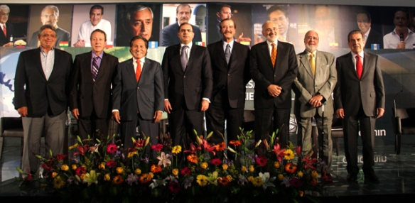 Jaime Paz, Vinicio Cerezo, Alejandro Toledo, Henry Kronfle (Presidente de AILA), Vicente Fox, Carlo de Mesa, Gustavo Noboa y Eduardo Frei