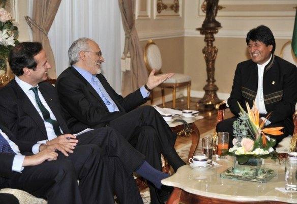 Jorge Quiroga, Carlos Mesa y Evo Morales en 2011 en Palacio. El tema, la demanda marítima boliviana