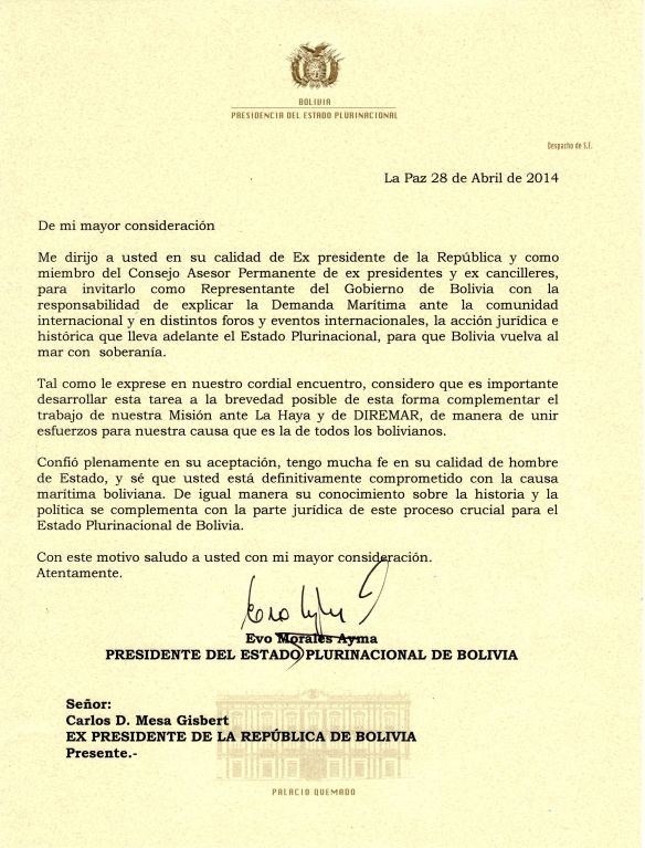carta invitación presidente
