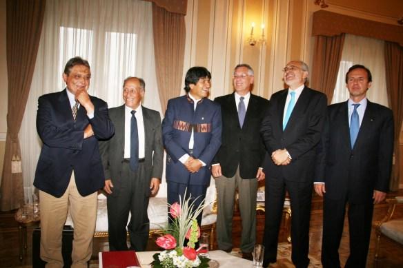 Jaime Paz, Guido Vildoso, Evo Morales, Eduardo Rodriguez, Carlos de Mesa, Jorge Quiroga