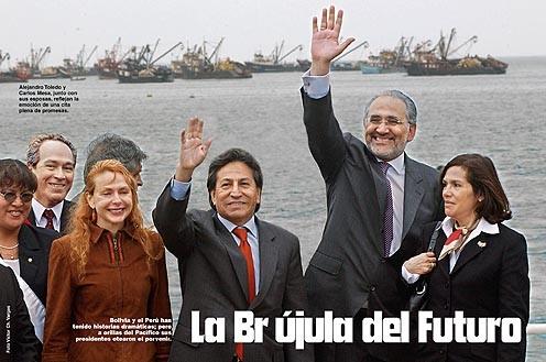 Encabezamiento del aRticulo de la revista Caretas de Lima  en ocasión de la firma de los acuerdos de Ilo