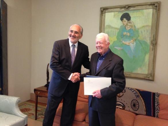 En el Centro Carter en Atlanta con el Expresidente de los Estados Unidos Jimmy Carter